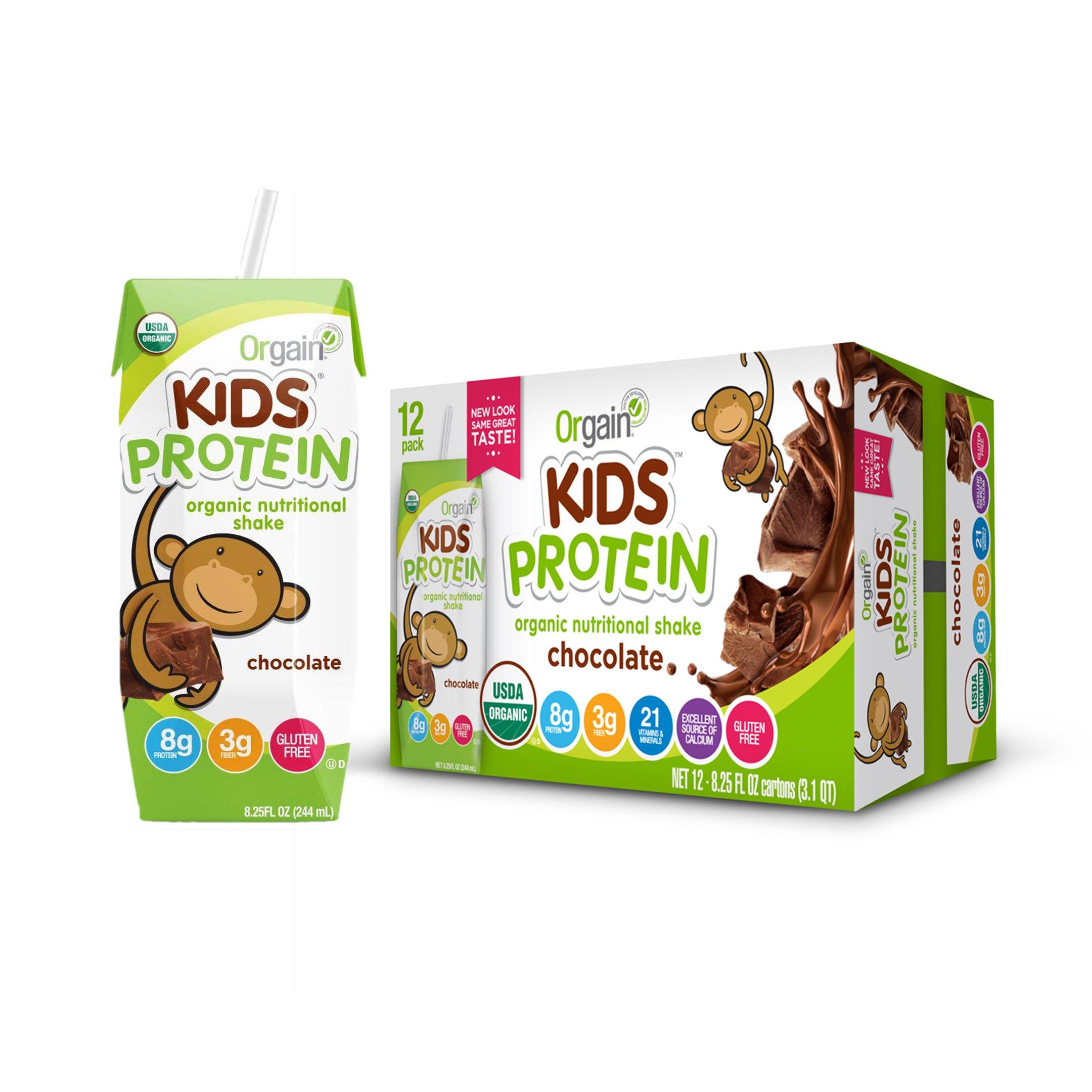 Orgain Kids Protein Organic Nutritional Shake, Chocolate, Gluten Free, Kosher, Non-GMO, 8.25 Ounce, Pack of 12