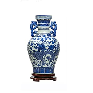 Azul y blanco de porcelana Binaural Dragón Jarrón