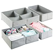 mDesign Fabric Baby Nursery Closet Organizer for Clothes, Towels, Socks, Shoes - Set of 4, Large, 10 Sections, Gray