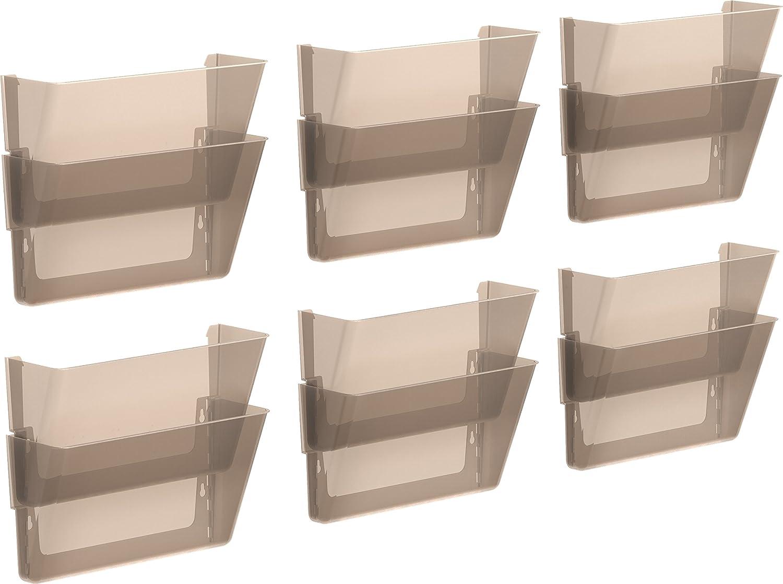 Storex Letter Sized Wall Files, 2-Pack, Smoke, Case of 6 (STX70214B06C)