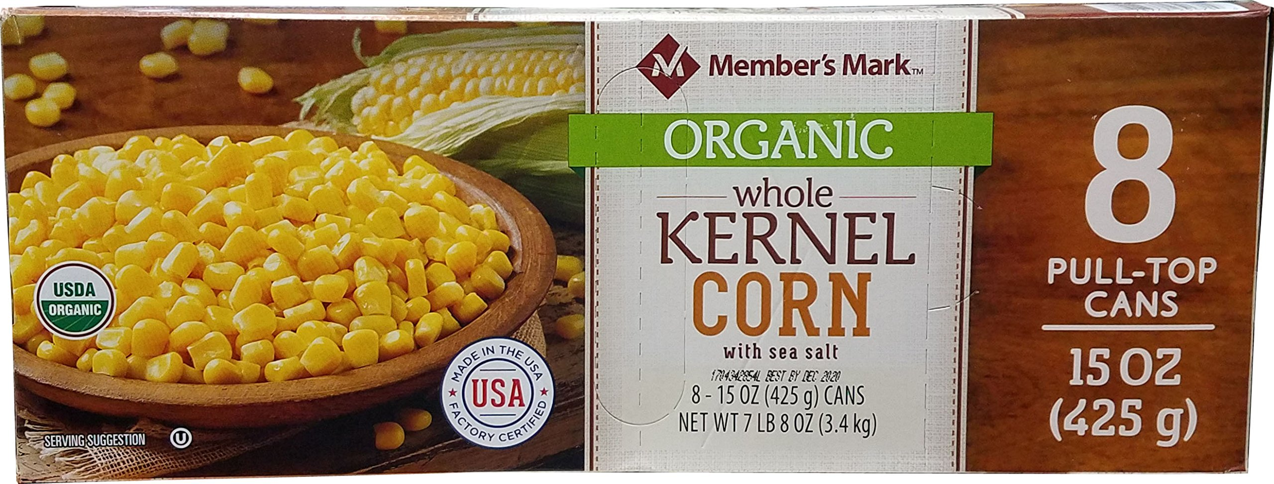 Member's Mark Organic Whole Corn (8 pack-15 OZ), 120 Ounce by Member's Mark