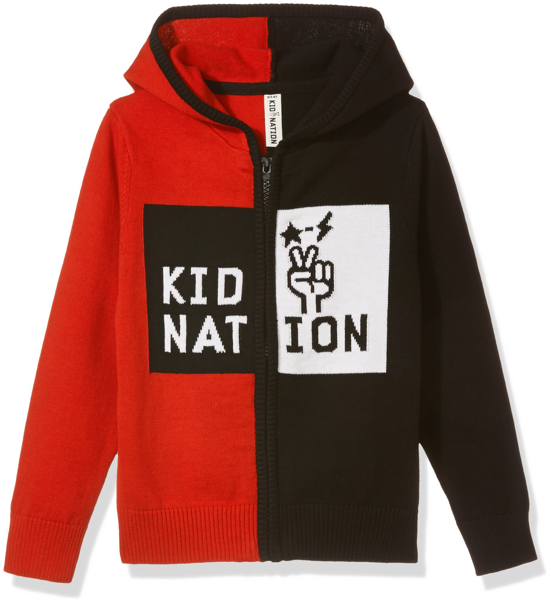 Kid Nation Kids' Long Sleeve Color Block Zip Hoodie Sweater XL Red for Boys or Girls