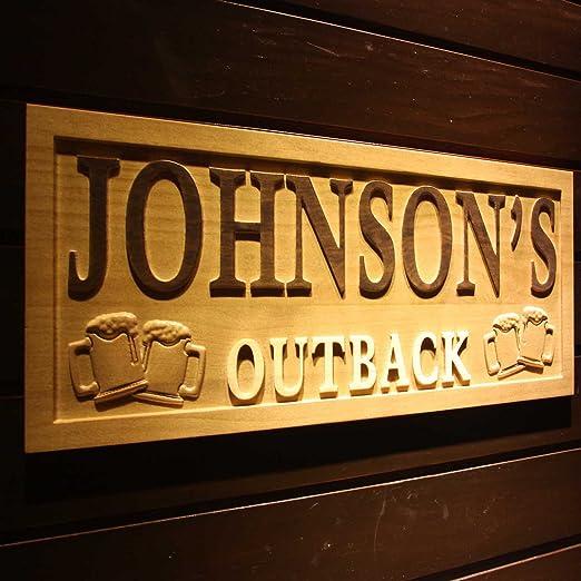 wpa0223 nombre personalizado Outback Bar cerveza madera ...