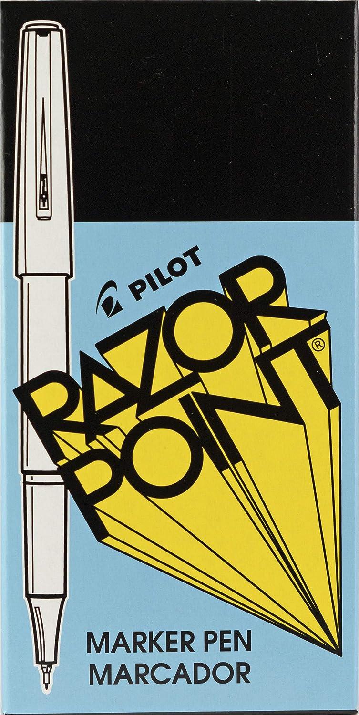 0.3mm 1 PILOT Razor Point Fine Line Marker Stick Pens Black Ink 12 Count Ultra-Fine Point