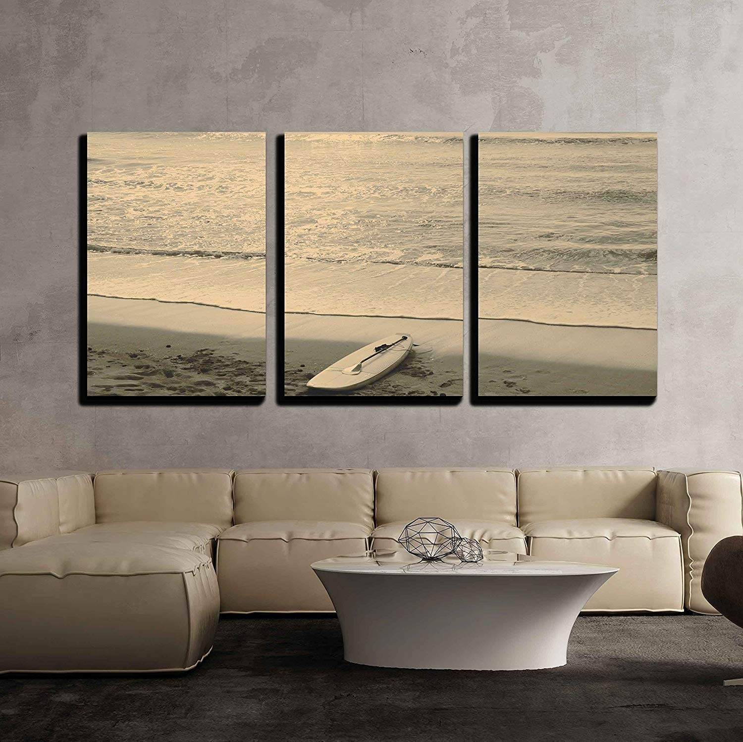 3 Piece Canvas Wall Art - Beach and Surf Board - Mallorca - Modern Home Art Stretched and Framed Ready to Hang - 24