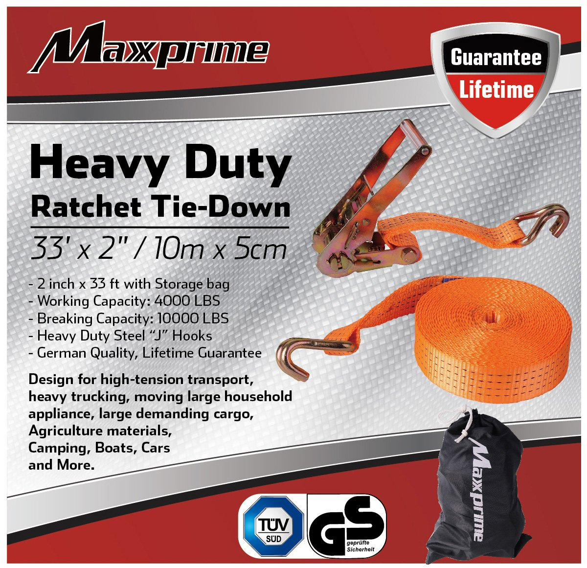 """Premium Ratchet Tie Down, Maxxprime 33' x 2"""" 10, 000 lbs Rated Capacity Tie-Down Ratcheting Cargo Truck Straps with Double J-Hooks - German Quality by MAXXPRIME (Image #3)"""