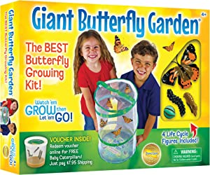 "Insect Lore Giant Butterfly Kit: Deluxe 18"" Habitat, Voucher For 5 Caterpillars, Butterfly Play Set"