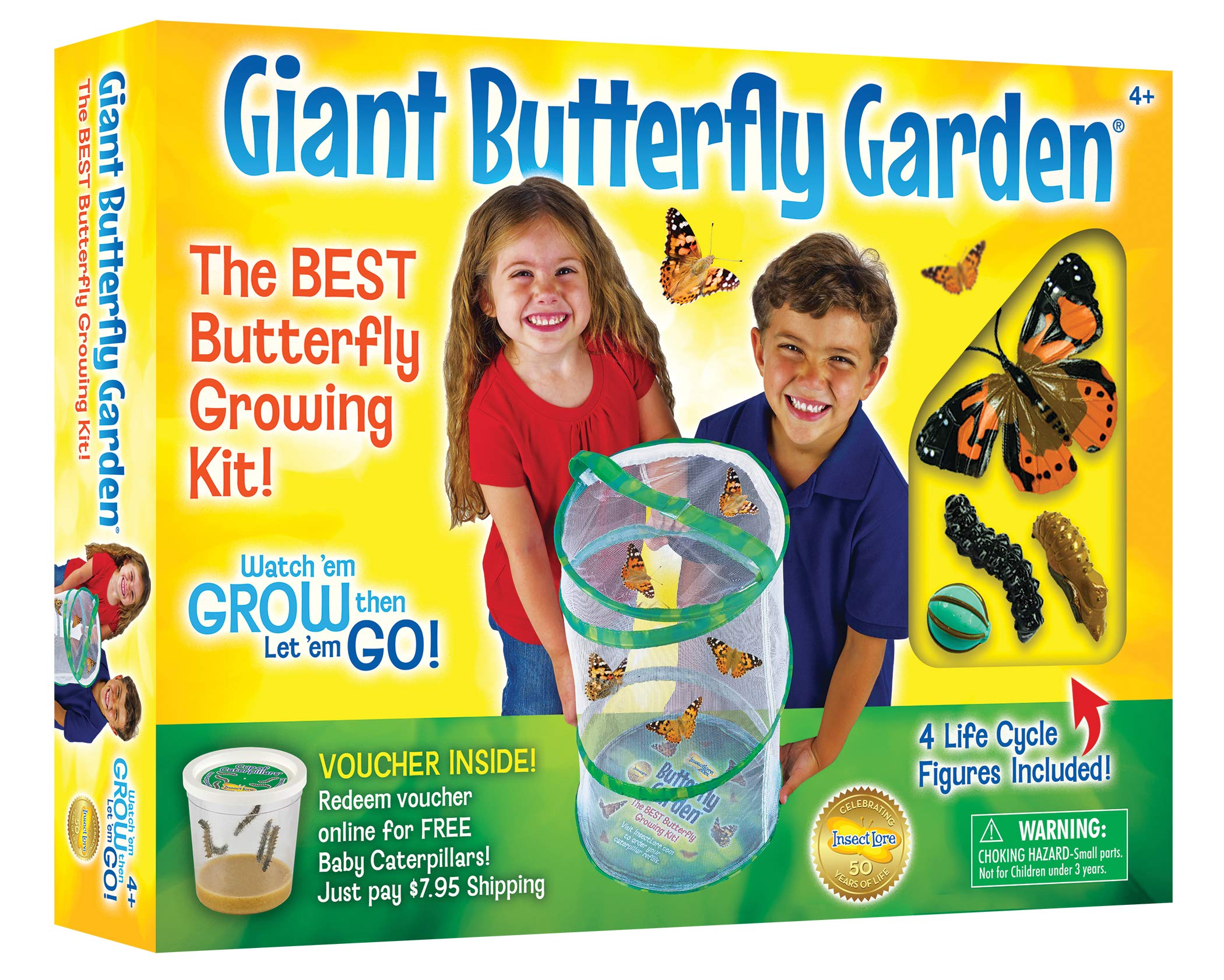 Insect Lore Giant Butterfly Kit: Deluxe 18'' Habitat, Voucher For 5 Caterpillars, Butterfly Play Set by Insect Lore