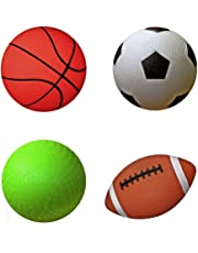 """AppleRound Pack of 4 Sports Balls with 1 Pump: 1 Each of 5"""" Soccer Ball, 5"""" Basketball, 5"""" Playground Ball, and 6.5"""" Football"""