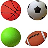 "AppleRound Pack of 4 Sports Balls with 1 Pump: 1 Each of 5"" Soccer Ball, 5"" Basketball, 5"" Playground Ball, and 6.5"" Football (1-Pack, 4 Balls 1 Pump)"