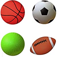 "AppleRound Pack of 4 Sports Balls with 1 Pump: 1 Each of 5"" Soccer Ball, 5"" Basketball, 5"" Playground Ball, and 6.5"" Football"
