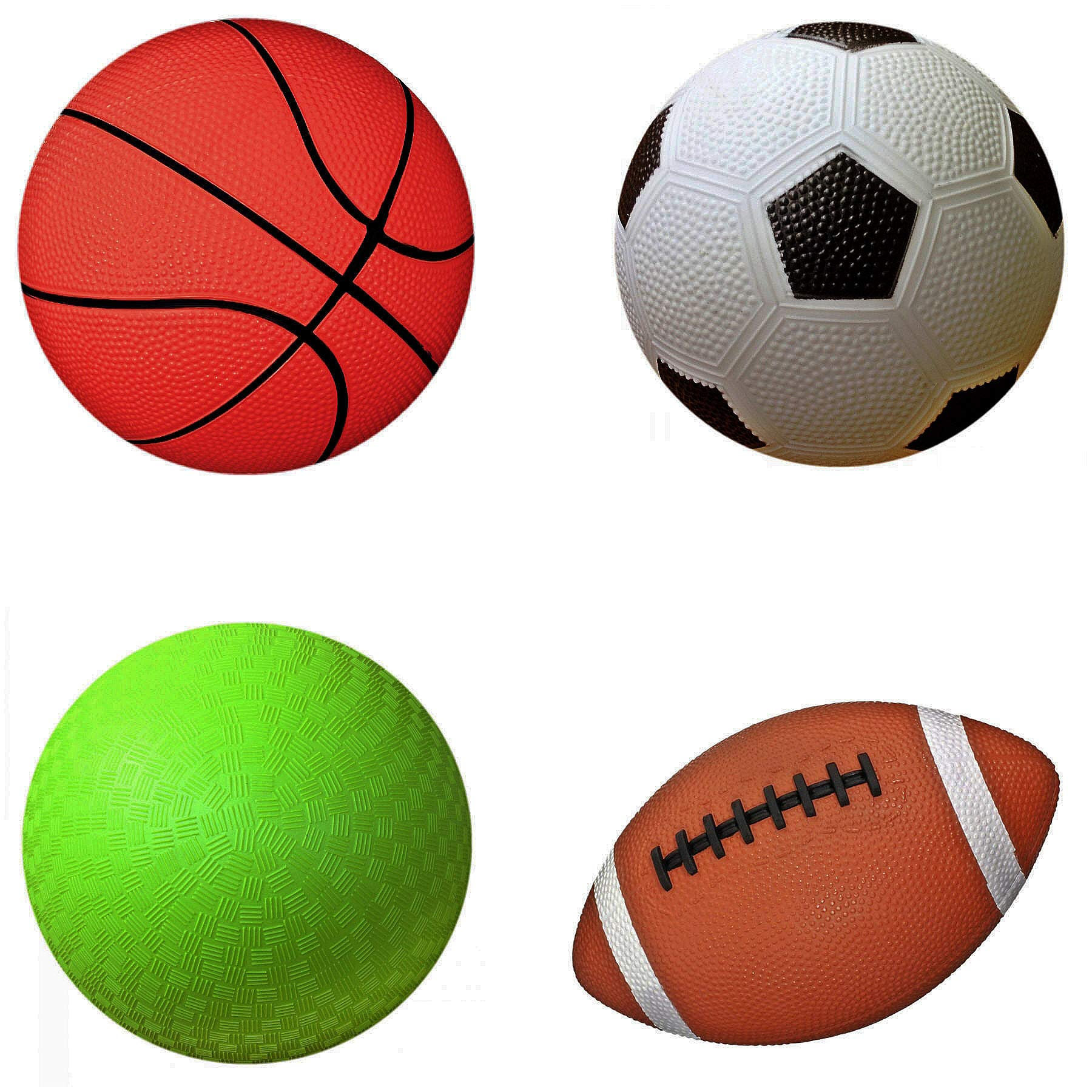 AppleRound Pack of 4 Sports Balls with 1 Pump: 1 Each of 5'' Soccer Ball, 5'' Basketball, 5'' Playground Ball, and 6.5'' Football (2-Pack, 8 Balls+2 Pumps) by AppleRound