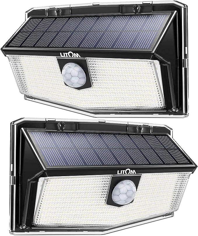 LITOM Luz Solar de Exterior Sensor de Movimiento,300 LED 3 Modos,Iluminación ángulo Ancho de 270°,IP67 Impermeable,2 Paquetes