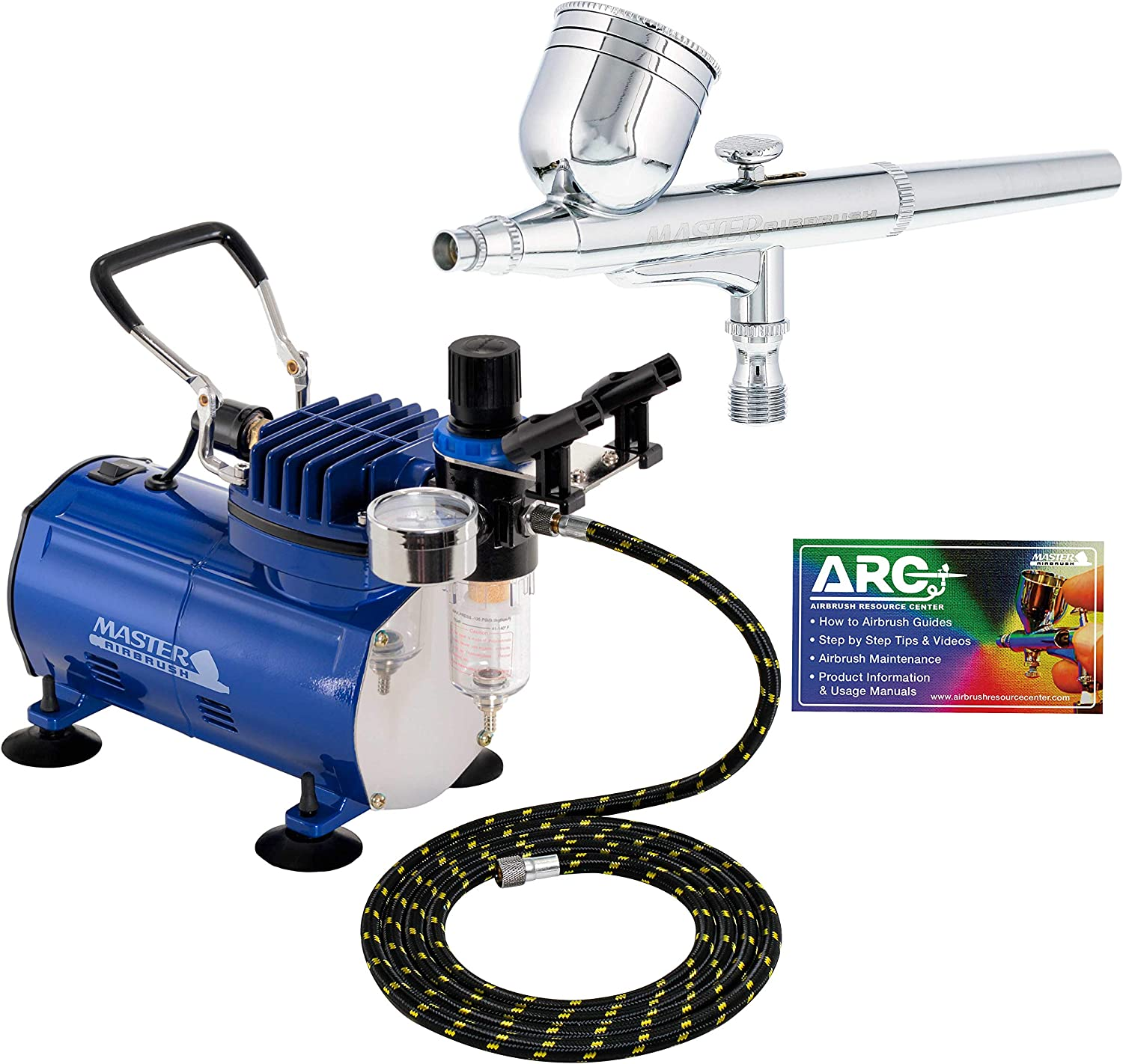 Master Airbrush Multi-purpose Gravity Feed Dual-action Airbrush Kit with 6 Foot Hose and a Powerful 1/5hp Single Piston Quiet Air Compressor: Arts, Crafts & Sewing