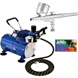 Master Airbrush Multi-purpose Gravity Feed Dual-action Airbrush Kit with 6 Foot Hose and a Powerful 1/5hp Single Piston…