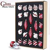 Valery Madelyn 24tlg.7-11cm Klassische Rot Weiß Glas Weihnachtskugeln Weihnachtsbaumschmuck Weihnachten Deko Anhänger, inkl.Metallhaken