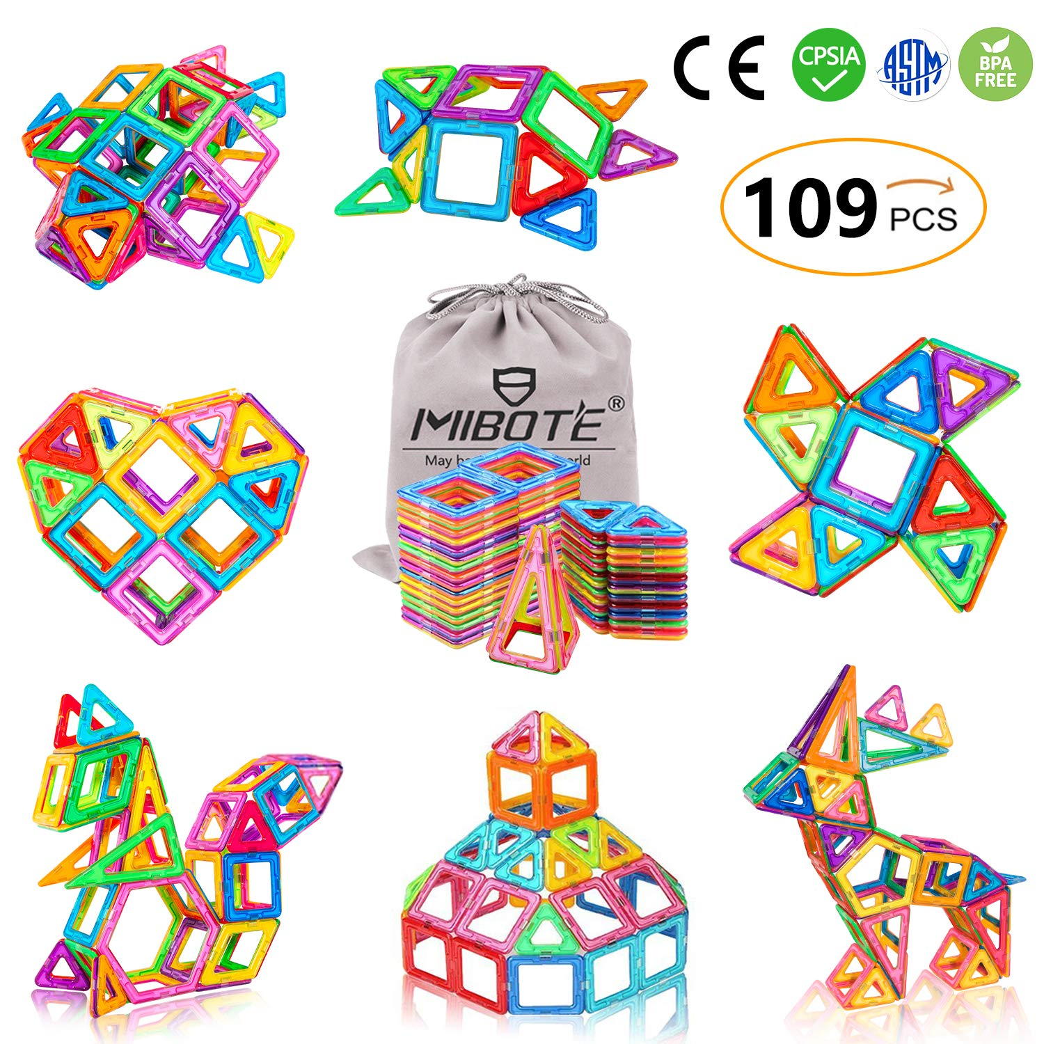 (109 PCS) Magnetic Building Blocks Educational Stacking Blocks Toddler Toys Preschool Boys Grils Toys with Car Wheel Toy Set for Kid's Educational and Creative Imagination Development by Mibote product image