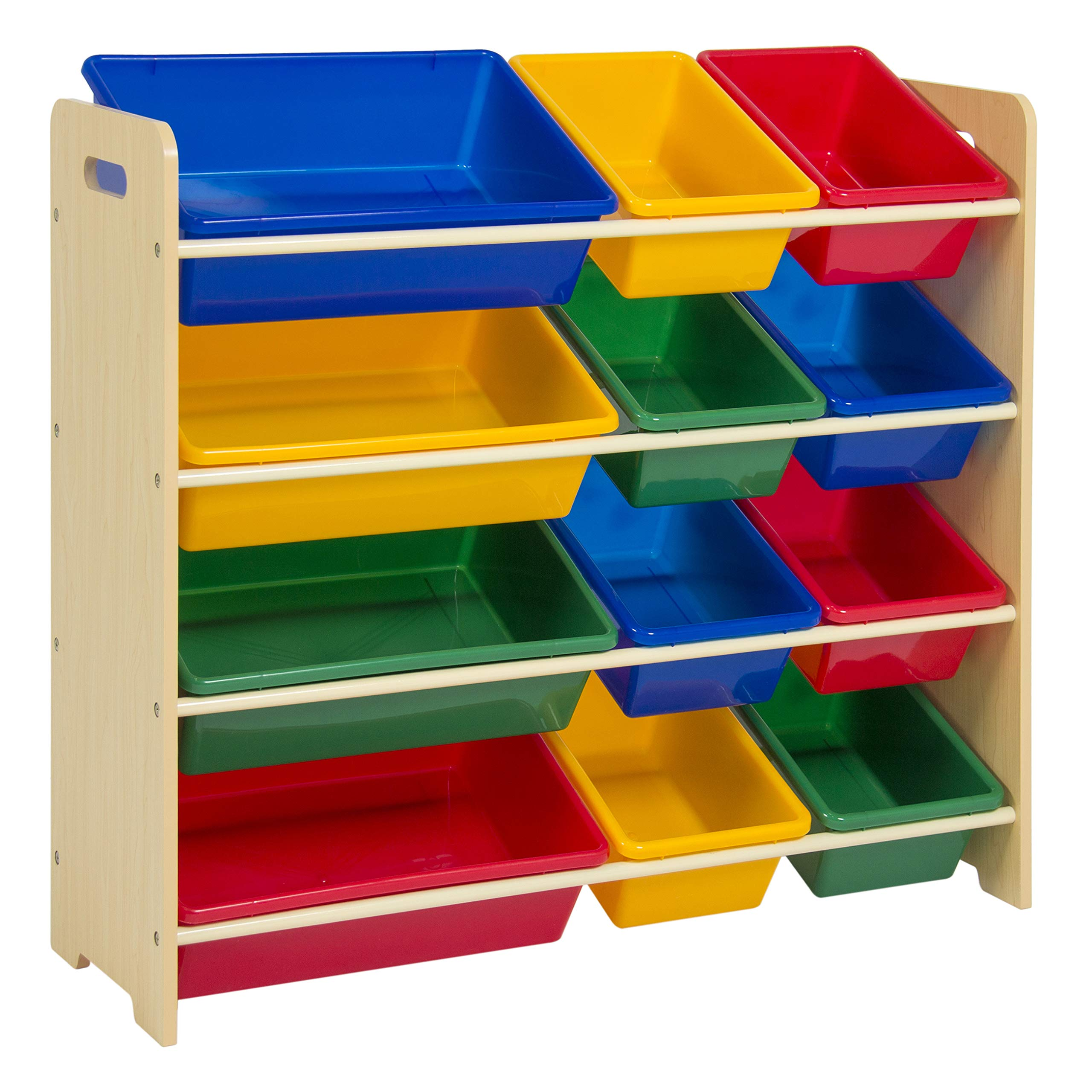 Best Choice Products 4-Tier Kids Wood Toy Storage Organizer Shelves Rack for Playroom, Bedroom, Living Room, Class Room w/ 12 Easy-To-Clean Removable Plastic Bins - Multicolor by Best Choice Products