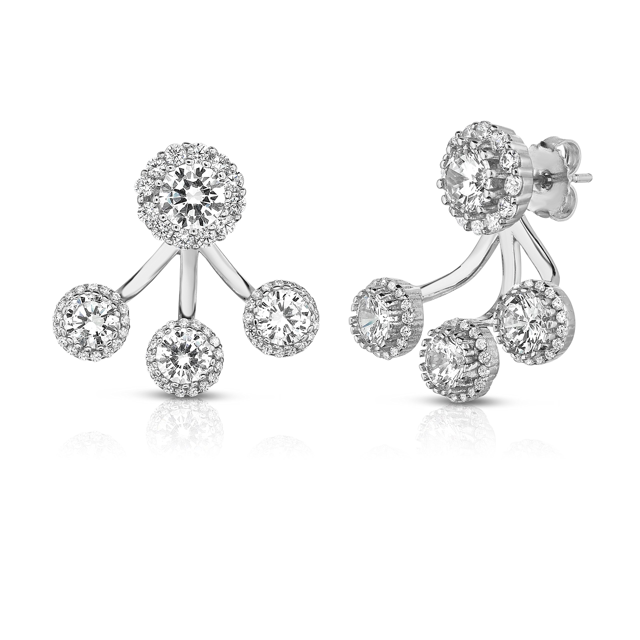 Sterling Silver Front Back 2 in 1 Cubic Zirconia Halo Earrings and Ear Jacket Cuff Set. (Natural Silver)