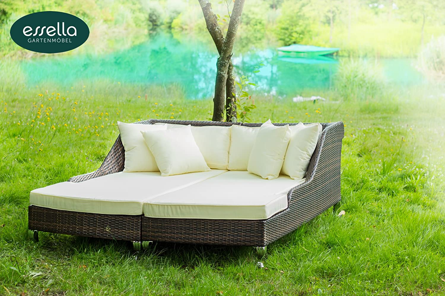 polyrattan daybed paris flachgeflecht bicolor braun gartenm bel terassenm bel g nstig. Black Bedroom Furniture Sets. Home Design Ideas
