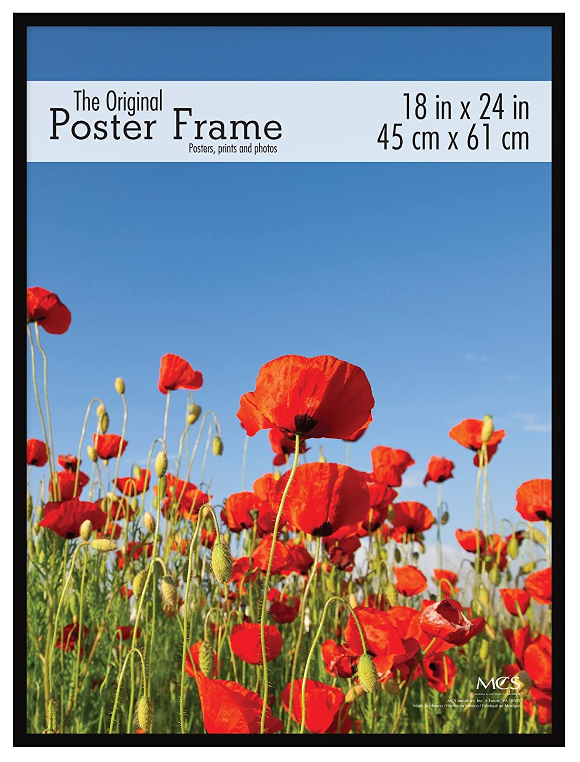 MCS Original Poster Frame with Pressboard Back and Styrene Glazing, 18x24, Black 18x24 MCS Industries 65754