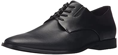 Mens Calvin Klein Naemon Oxfords Shoes Black Leather ARJ40381