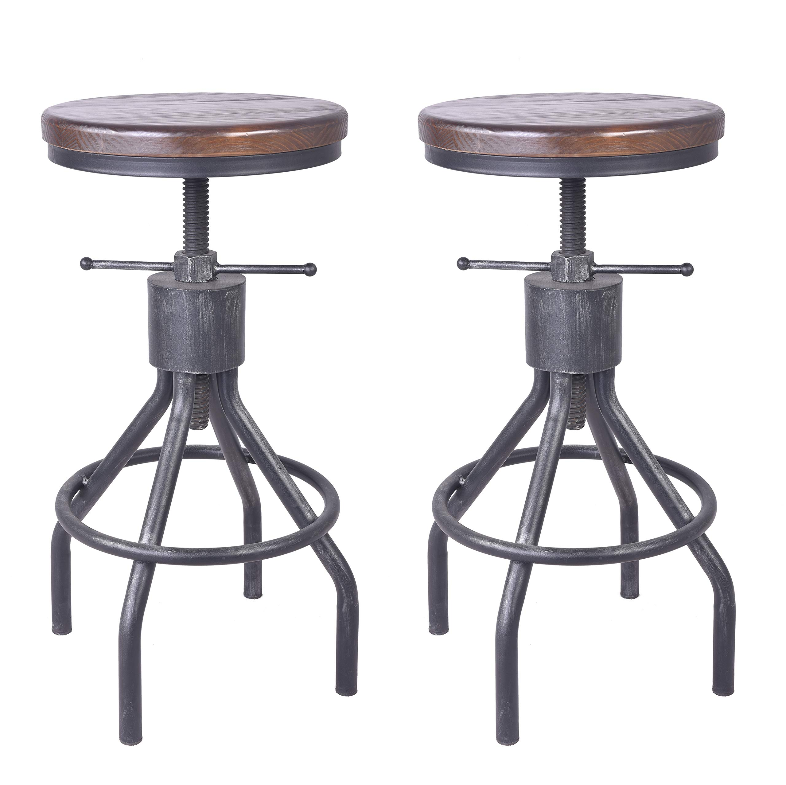 Set of 7 Industrial Bar Stool-Vintage Adjustable Round Wood Metal Swivel  Bar Stool-Cast Iron-73-7 Inch Tall Counter Bar Height Farmhouse Kitchen