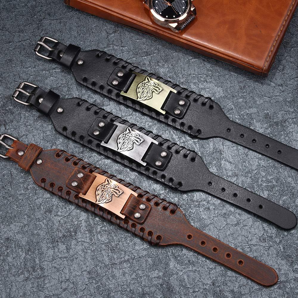 Juland Bracelet en Alliage de Corde tress/ée Punk Bracelet Bracelet en Cuir v/éritable Bracelet Manchette en Cuir pour Homme Bracelet t/ête de Loup Bracelets Poignet Large en Cuir r/églable