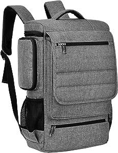 18.4 Inch Laptop Backpack,BRINCH Water Resistant Large Travel Backpack for Men Luggage Knapsack Computer Rucksack Hiking Bag College Backpack Fits 18-18.4 Inch Laptop Notebook Computer, Grey-Black