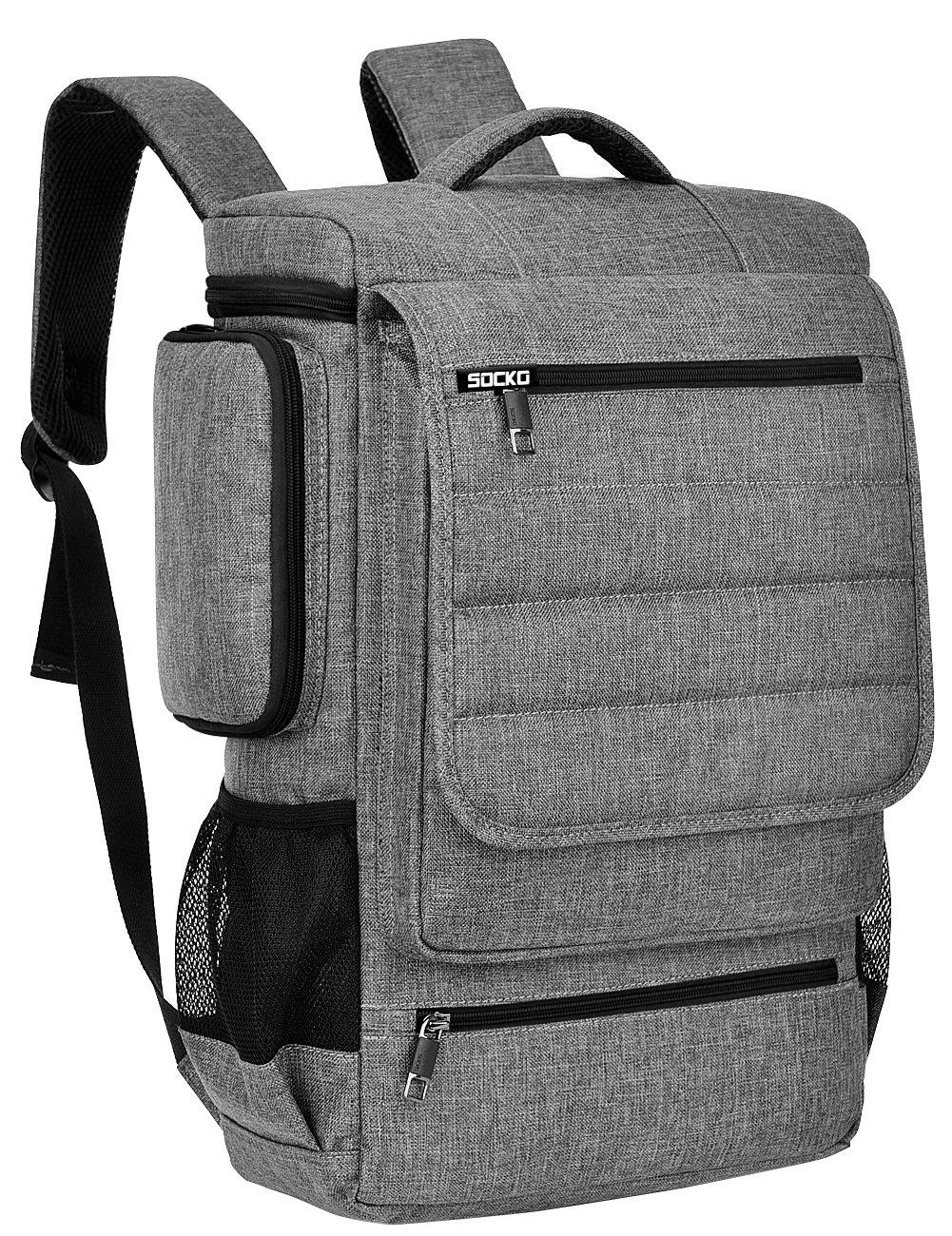 18.4 Inch Laptop Backpack,BRINCH Water Resistant Large Travel Backpack for Men Luggage Knapsack Computer Rucksack Hiking Bag College Backpack Fits 18-18.4 Inch Laptop Notebook Computer, Grey-Black by BRINCH