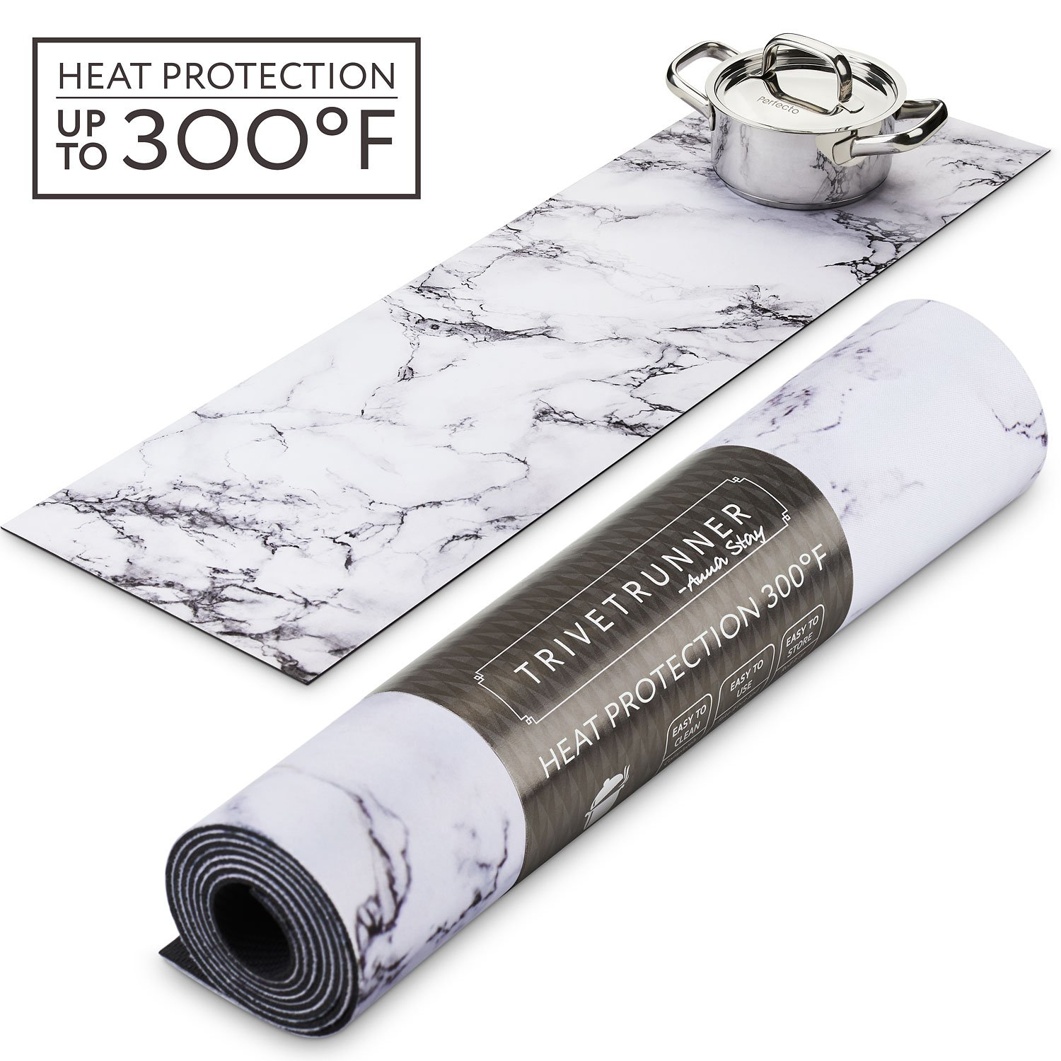 TRIVETRUNNER Decorative Trivet and Kitchen Table Runners Handles Heat Up to 300F, Anti Slip, Hand Washable, and Convenient for Hot Dishes and Pots,Hand Washable (White Marble) by TRIVETRUNNER (Image #1)