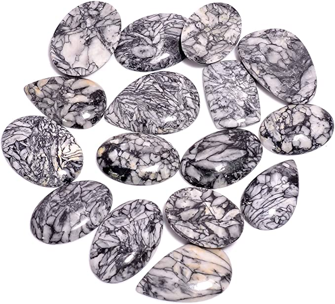 Natural Austria Pinolith Jasper Pear Loose Cabochon Gemstone 5 Pcs Wholesale Lot