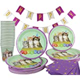 Happy Birthday Party Kitten Decoration Supplies Theme 142 Piece (Serves 20) Party Pack Kit (Kitten) Plates Cups Napkins Table Cover Banner