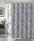 Navy Blue White IKAT Cotton Fabric Shower Curtain: Geometric Floral Design