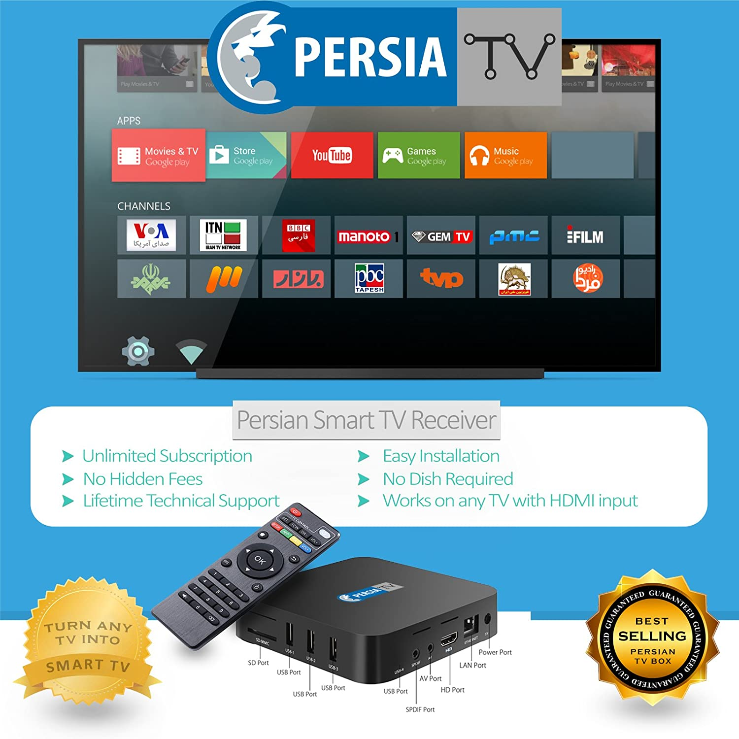 Persian TV Box Glwiz IranProud Manoto with Irani Farsi