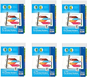 6 Pk, BAZIC 3-Ring Binder Dividers W/ 12-Preprinted Jan-Dec Tab