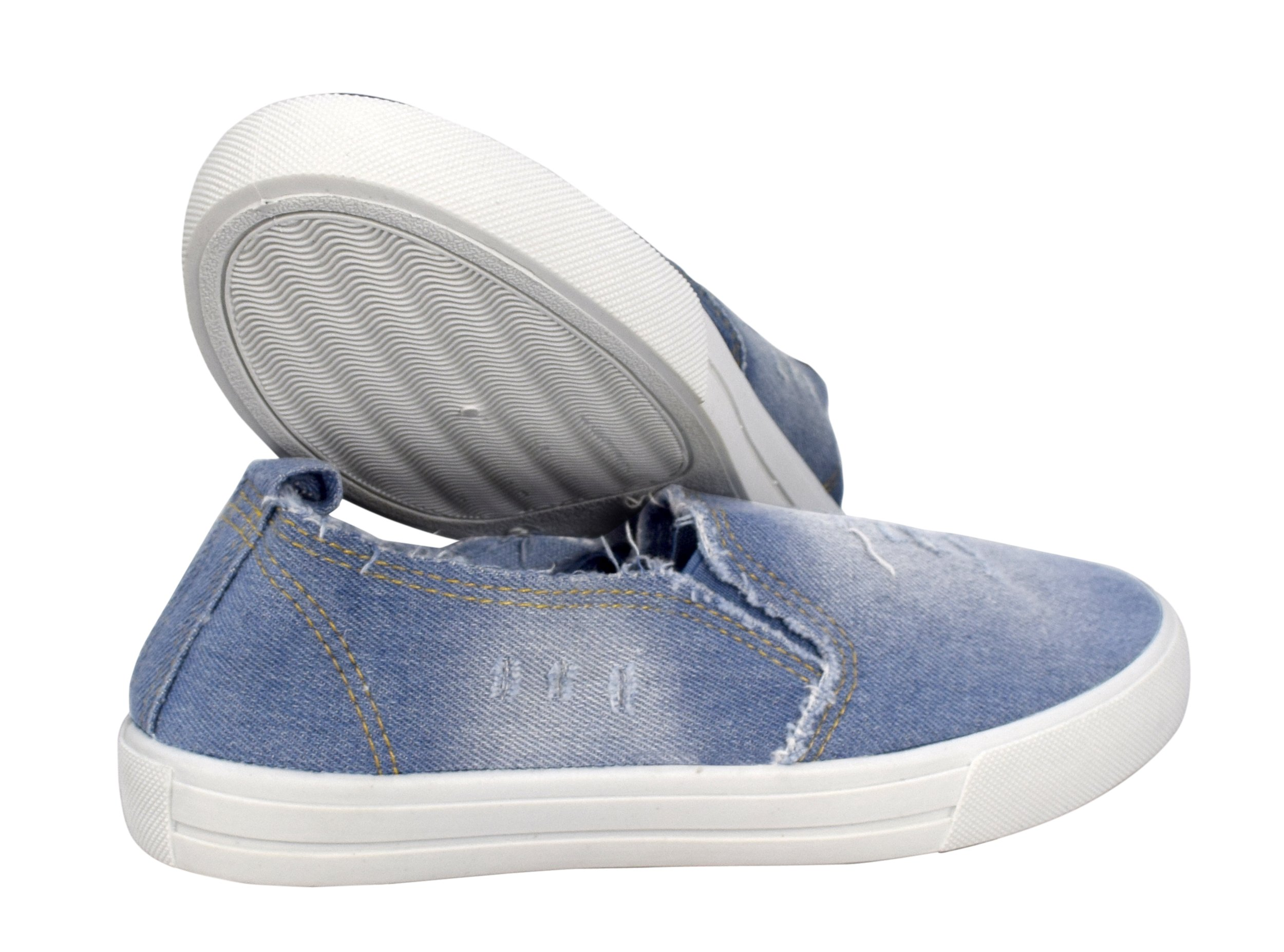 Peach Couture Womens Fashion Distressed Denim Casual Shoes Slip On Sneakers (L Blue 8) by Peach Couture (Image #3)