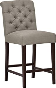 """Stone & Beam Carson Leather Tufted Kitchen Counter- Height Stool, 41""""H, Slate"""