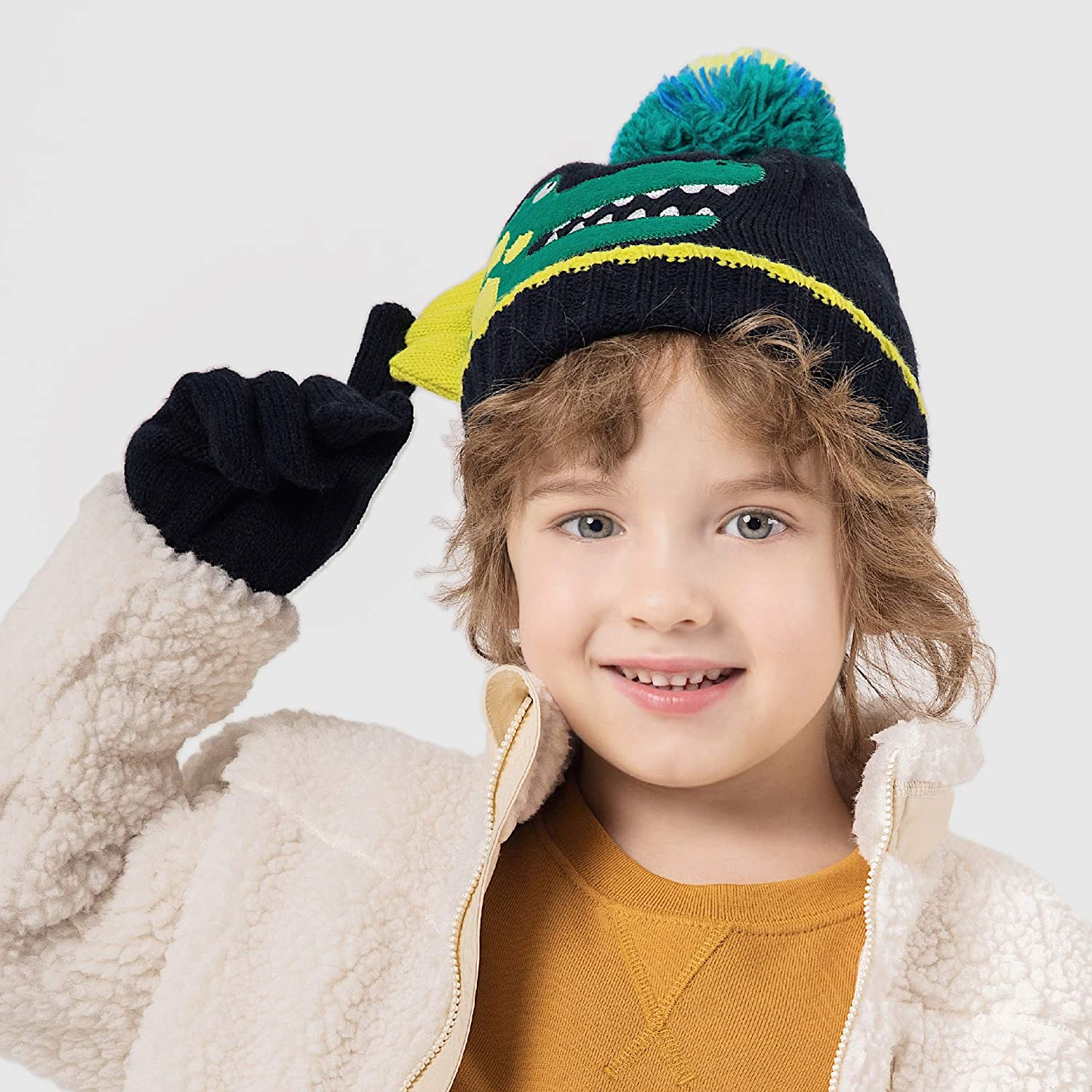 Azarxis Kids Winter Knitted Set Toddler Beanies Hat Scarf Gloves for Boys Girls
