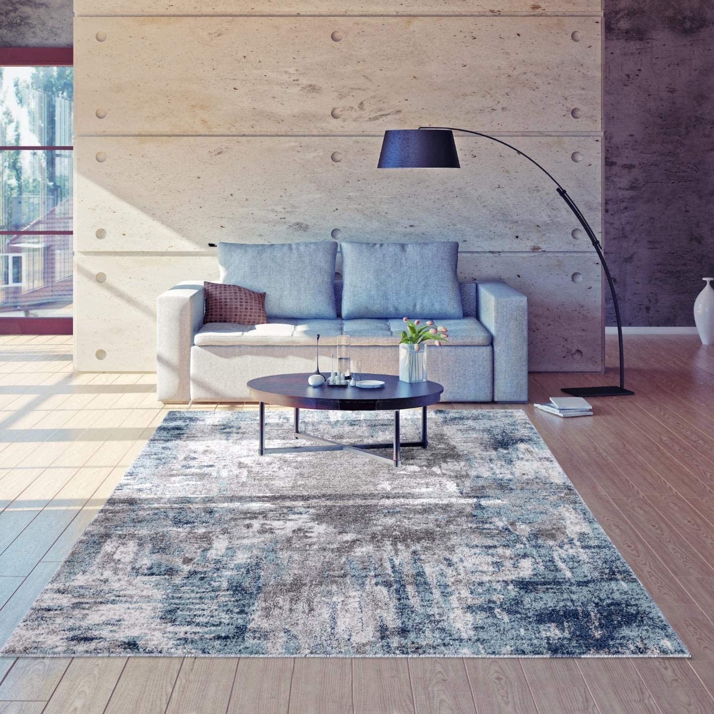 Luxe Weavers Euston Blue 5 x 7 Abstract Modern Area Rug