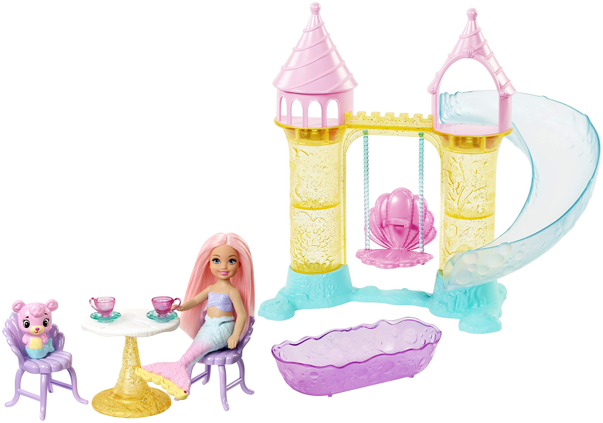 Barbie Dreamtopia Chelsea Mermaid Doll, Merbear Figure and Playground Playset