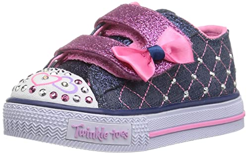 GIRLS SKECHERS TWINKLE TOES SHUFFLES GLITTER CRUSH DENIM