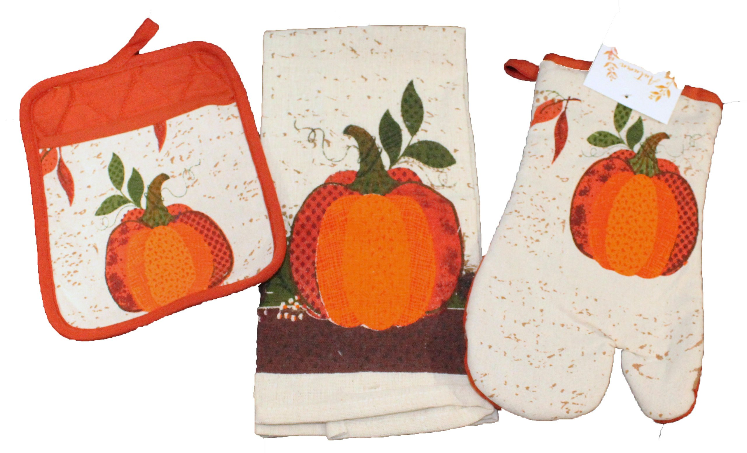 Twisted Anchor Trading Co Fall Harvest Pumpkin Oven Mitt, Pot Holder, and Kitchen Towel-3Pc Set - Comes in an organza bag so it's ready for giving!