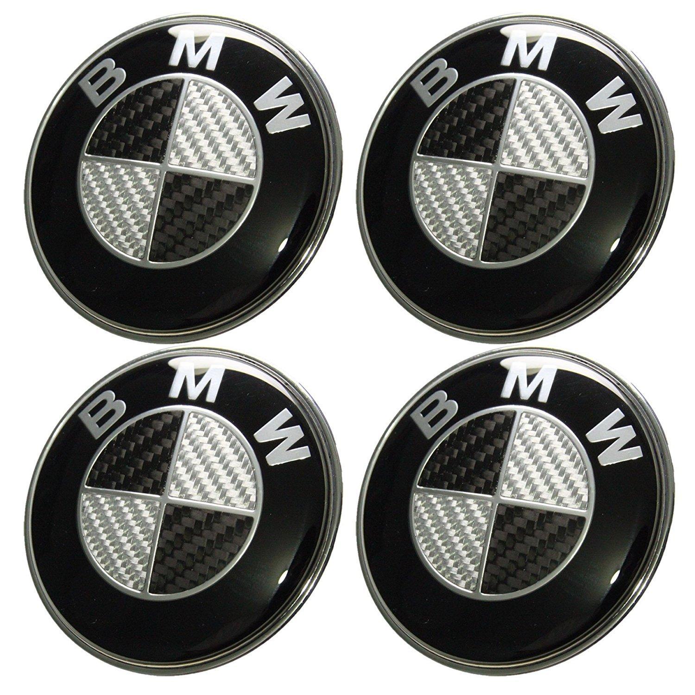 4 tapacubos de aleación de aluminio, con el logo de BMW, de 68 mm, para cubrir llantas, efecto carbono, tapacubos con decoración y logo distintivo: ...