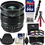 Fujifilm 16mm f/1.4 XF R WR Lens with 3 UV/CPL/ND8 & 6 Colored Filters + 64GB Card + Tripod + Hood + Kit