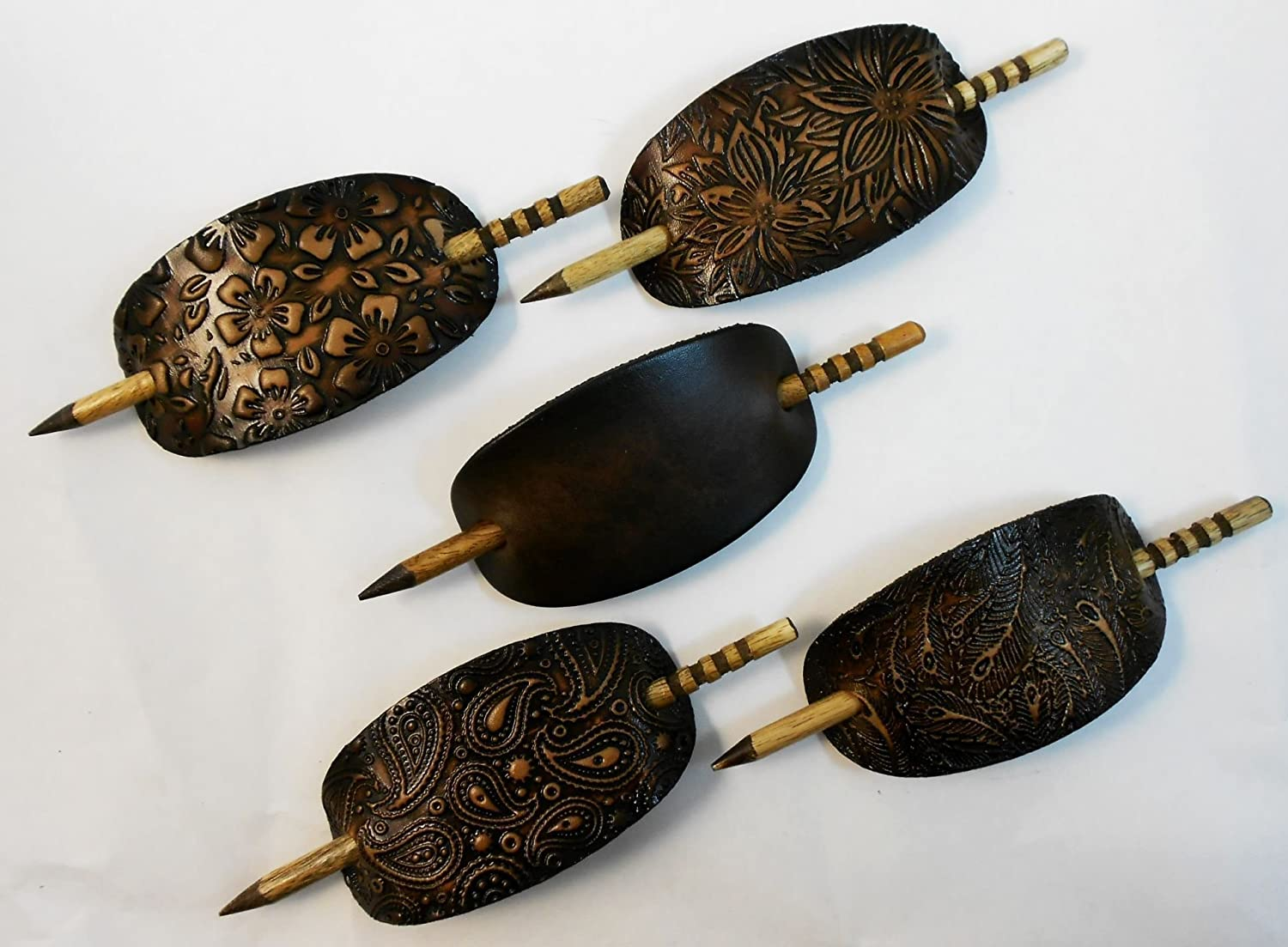 2 Large Leather Hair Barrettes w Sticks, Oval Shape Ponytail Holders, Choice of Design