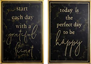 TERESA'S COLLECTIONS 2 Pcs Wall Hanging Sign Decorations, Metal and Glass Modern Wall Art Decor, Today is the Perfect Day Grateful Heart Signs for Living Room Indoor Decorations