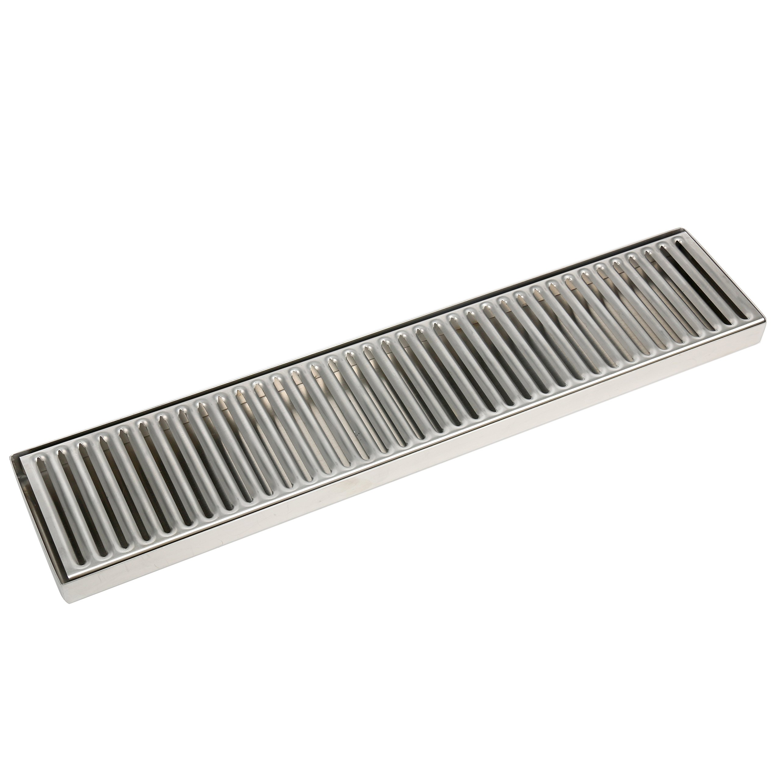 YaeBrew 19'' Length 4'' Width Rectangular Stainless Steel Beer Surface Mount Drip Tray, No Drain, Silver