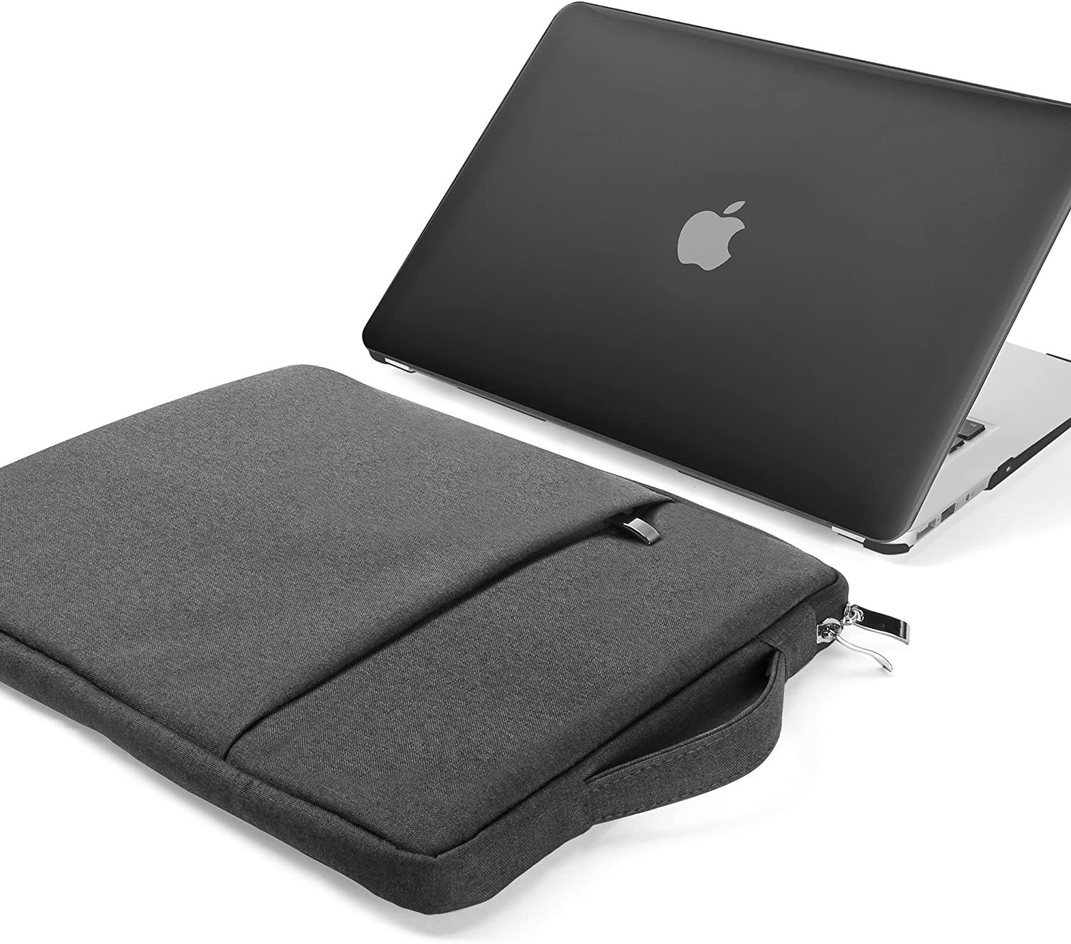 GMYLE MacBook Air 13 Inch Case A1466 A1369 Old Version 2010 2017 and 13 13.3 Inch Handle Carrying Sleeve Bag 2 in 1 Set (Black)