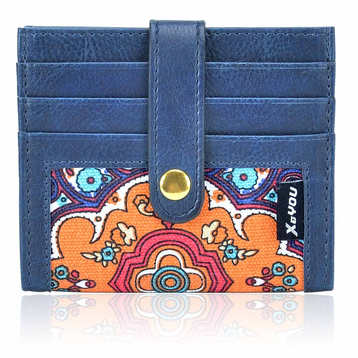 Front Pocket Wallet Credit Card Holder Card Wallet with Button Bifold Card Case for Men and Women (Blue) XeYOU Xe-Card Wallet-12